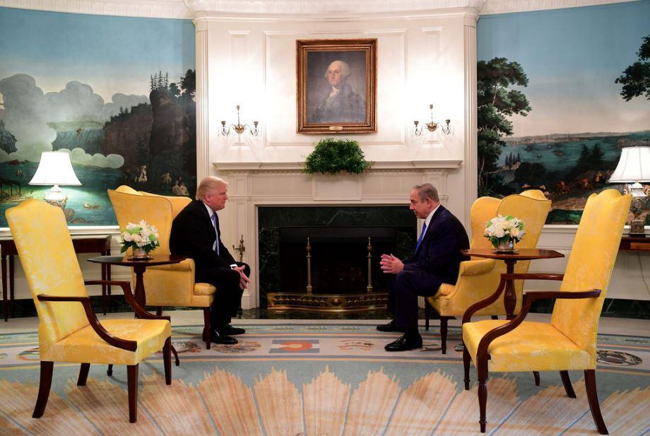 US president Donald Trump with Israeli prime minister Benjamin Netanyahu in January 2017. Prime Minister of Israel / Flickr
