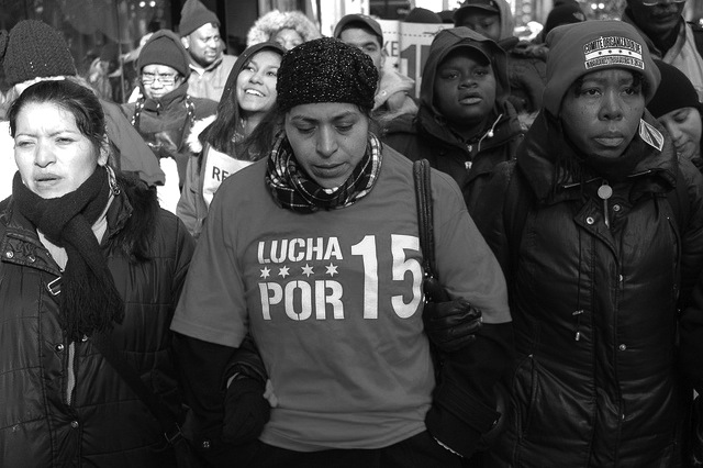 Chicago low-wage workers on strike in 2013. Aaron Cynic / Flickr