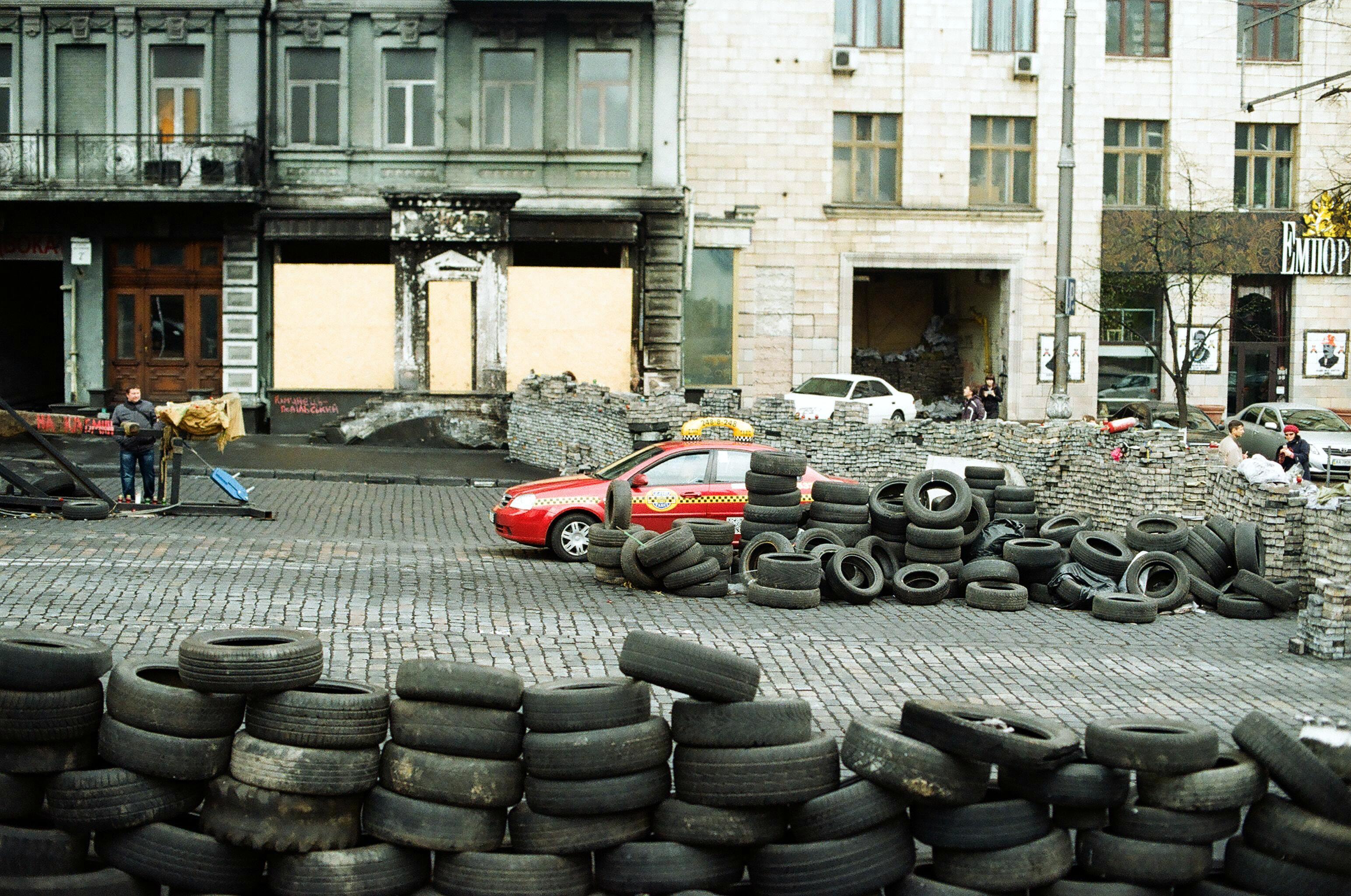 Barricades in Kiev, Ukraine.