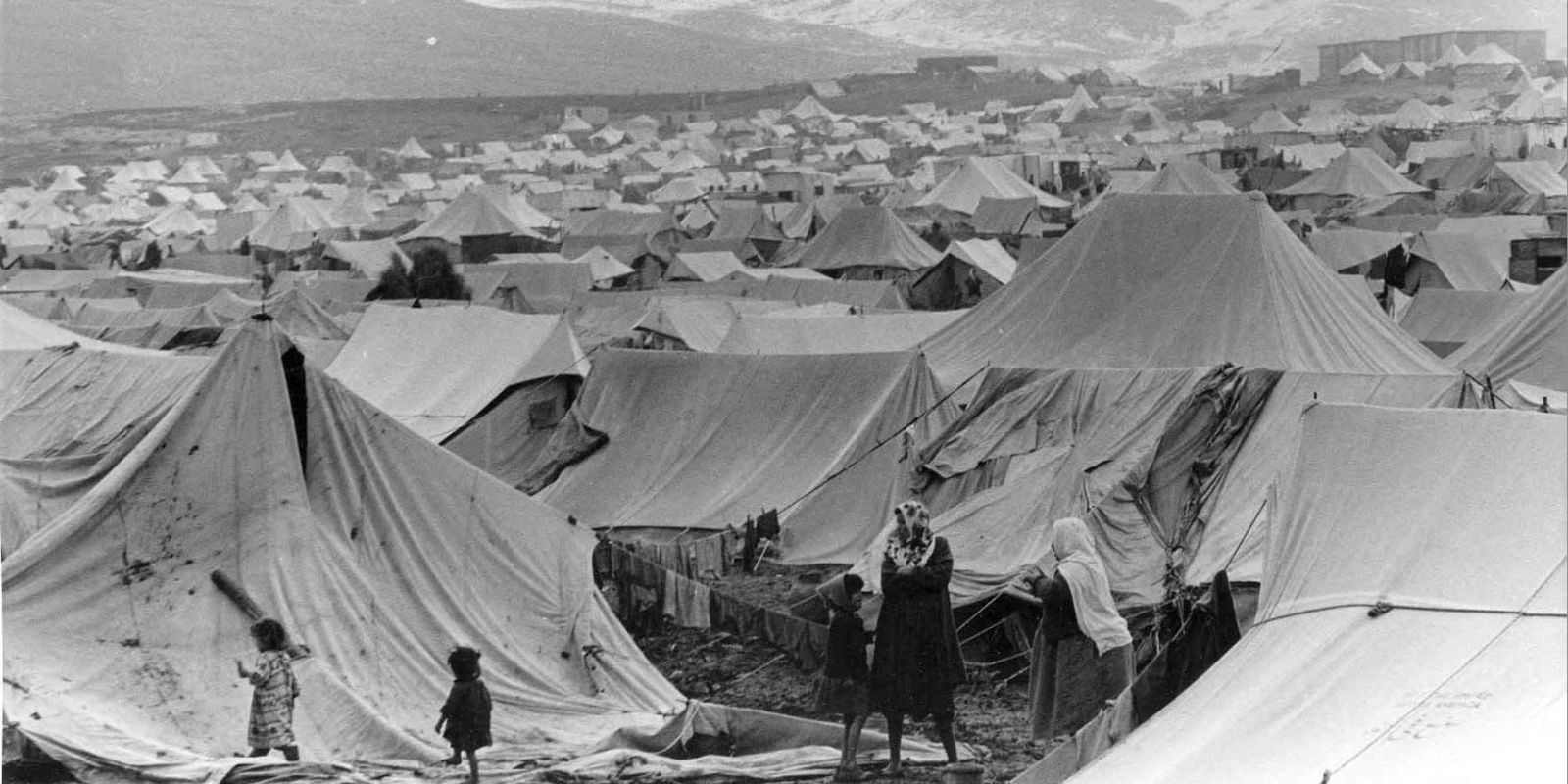 An early refugee camp. Late 1940s, Palestine.