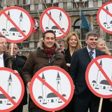 The leaders of several European right-wing parties pose with signs in Antwerp, Belgium. Jorge Dirkx / AFP