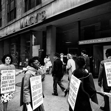 Picketing ILGWU members  during a 1965 strike.