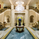 The entryway of a Beverly Hills estate whose $195 million listing price set a record when it went on the market last fall.