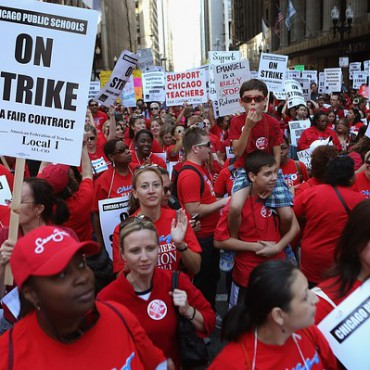 Chicago Teachers Union members on strike in 2012. Getty Images