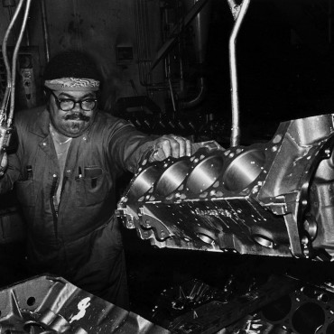 A unionized auto worker  on the assembly line in 1979.
