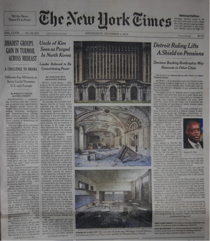 The December 4, 2013 front page of the New York Times, featuring three photos of abandoned sites by Yves Marchand and Romain Meffre.