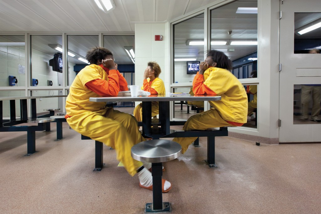 Three girls at a juvenile facility in Racine, Wisconsin. Richard Ross