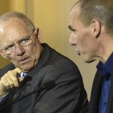 German Finance Minister Wolfgang Schäuble and then–Greek Finance Minister Yanis Varoufakis during negotiations.  AFP