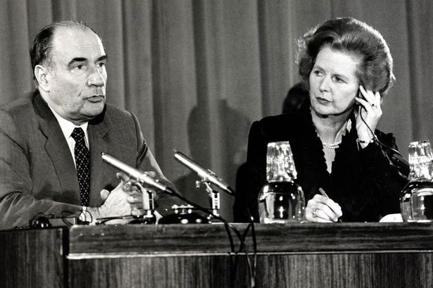 François Mitterrand speaks alongside Margaret Thatcher in 1981.
