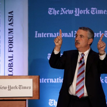 Thomas. Friedman speaks at the 2013 International New York Times Global Forum.