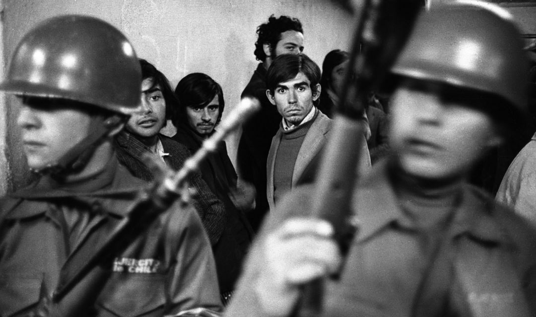 "Daniel Cespedes, ""a suspected leftist,"" at the National Stadium in Santiago, Chile, 1973. David Burnett"