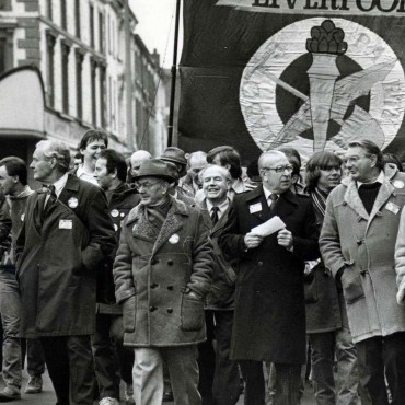 Members of the Labour left, including Tony Benn, in November 1983.