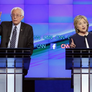 Bernie Sanders and Hillary Clinton during last night's debate. NPR