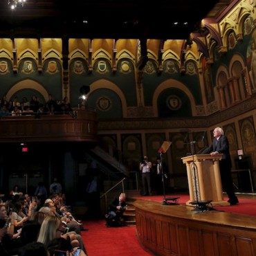 Bernie Sanders delivers a speech on democratic socialism at Georgetown University on Thursday. Carlos Barria / Reuters