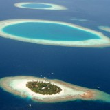 An aerial shot of the Maldives islands, which could be submerged due to climate. Liu Yongqiu / Xinhua Press