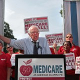 Bernie Sanders speaks at a June 2015 rally celebrating the fiftieth anniversary of Medicare's passage. National Nurses United / Flickr