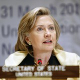 """Hillary Clinton speaks at a conference on a """"New Future for Haiti"""" in March 2010. United Nations Development Programme / Flickr"""