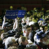 Bernie Sanders supporters at rally at Daniel Webster College in Nashua, New Hampshire on Monday. Allegra Boverman / New Hampshire Public Radio