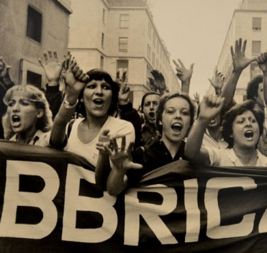 Italian women at a labor protest in the 1970s. Tano D'Amico