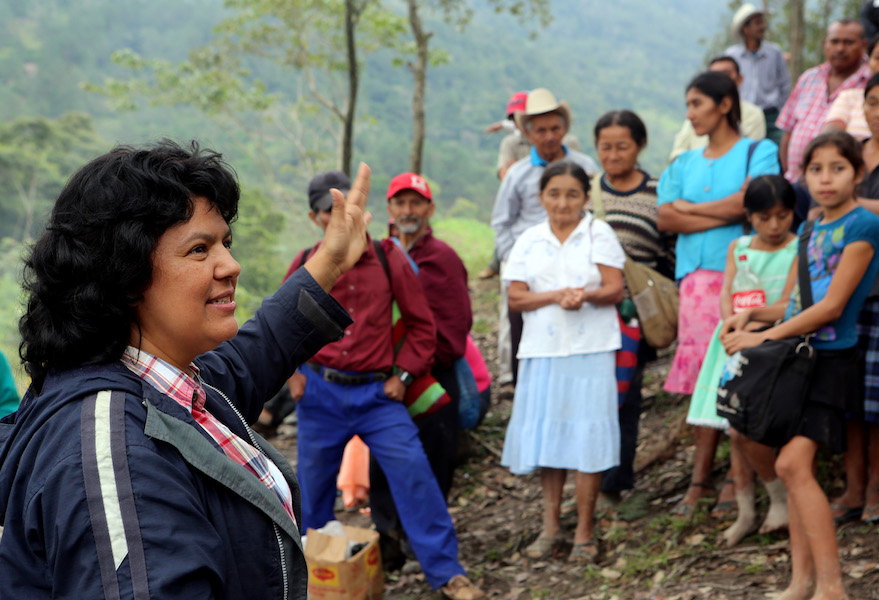 The late Honduran activist Berta Cáceres and members of the group she co-founded, COPINH, in the Rio Blanco region of Honduras. Goldman Environmental Prize
