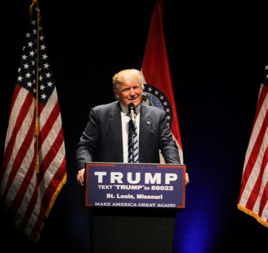 Donald Trump speaks at a rally on March 11 at the Peabody Opera House in St. Louis. Jordan Kodner / Flickr