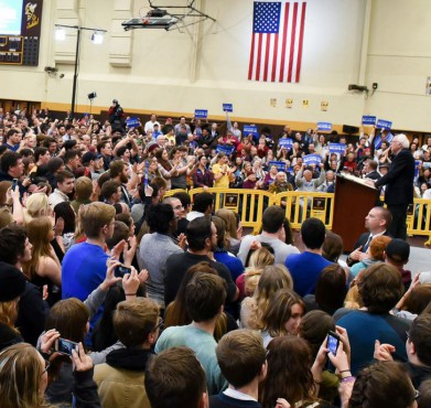 Bernie Sanders in Ohio on February 25, 2016. Baldwin Wallace University