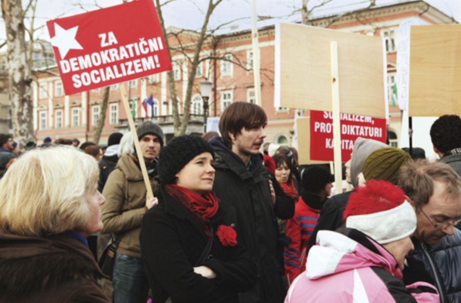 A rally for the Initiative for Democratic Socialism in Ljubljana, Slovenia on April 30, 2013. Borut Krajnc