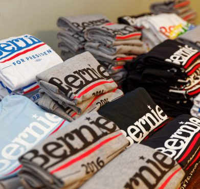 Bernie Sanders t-shirts at a campaign event last October in Derry, New Hampshire. Michael Vadon / Flickr