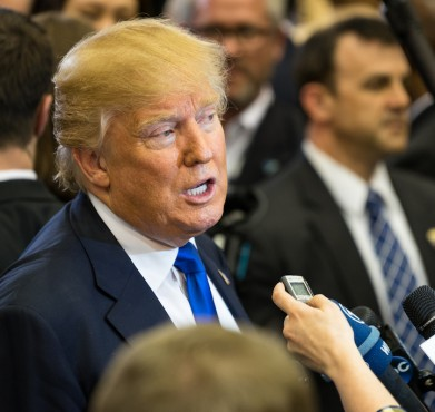 Donald Trump fields questions from the press in February. Mike McGraw / Flickr
