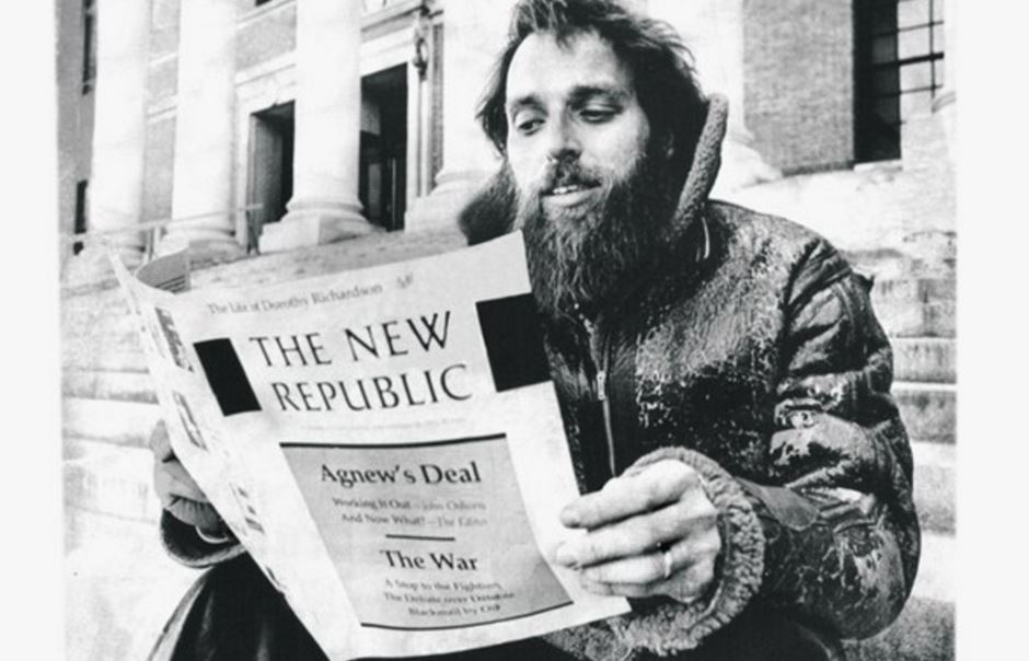 Marty Peretz reading the New Republic in 1974. Arthur Grace