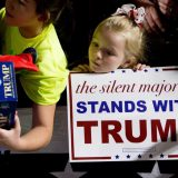 A young girl stands in line at a Donald Trump rally in January in Muscatine, Iowa. AP