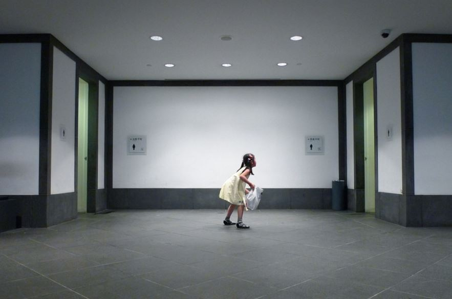 Outside the bathrooms in Suzhou Museum in China. Peiyu Liu / Flickr