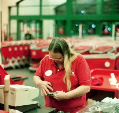A cashier at Target. shazbot music / Flickr