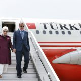 Turkish president Erdoğan with his wife on a visit to Peru in February 2016. Peru Ministry of Foreign Relations