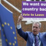UK Independence Party leader Nigel Farage during the May launch event for his party's campaign for Britain to leave the European Union. AP