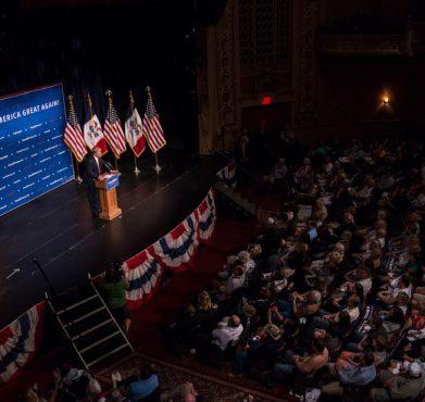 Donald Trump speaking in Des Moines, Iowa on June 16, 2015. John Pemble