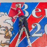 Artist Lydia Emily painting a Bernie Sanders mural in Los Angeles, CA. Birdman Photos / Flickr