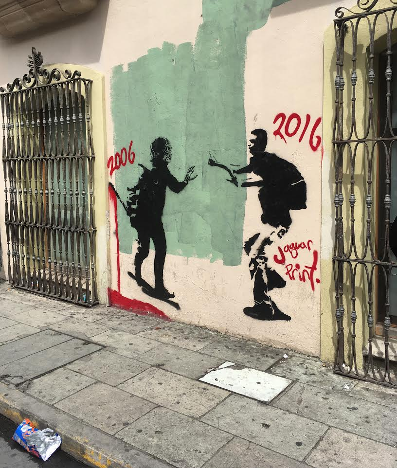 2006–2016. Street graffiti in Oaxaca City, commemorating the ongoing teachers' struggle. Shane Dillingham / Jacobin