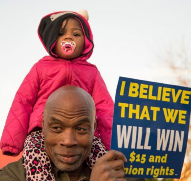 Supporters of a $15 minimum wage in Milwaukee, WI on January 1, 2014. Milwaukee Teachers' Education Association / Flickr