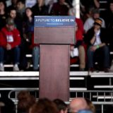 The podium at a Bernie Sanders rally in Des Moines, Iowa in January 2016. Gage Skidmore / Flickr