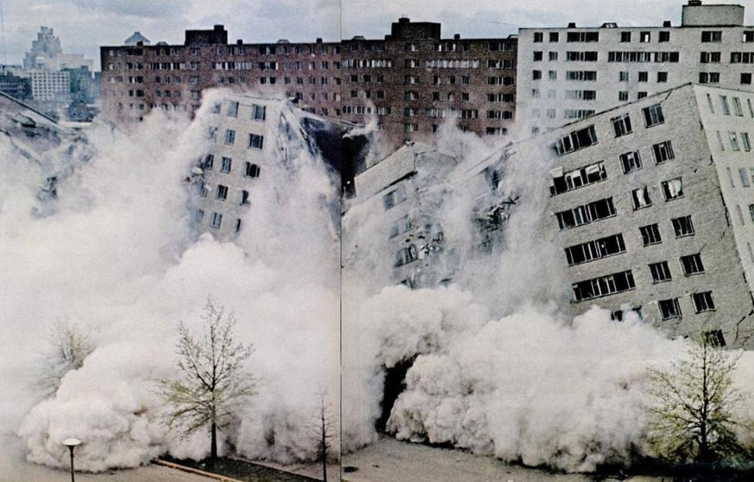 The Pruitt-Igoe housing complex in St. Louis, Missouri being demolished in 1972. Life magazine