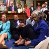Democratic members of Congress in a sit-in protest on June 22, 2016. Representative Chellie Pingree