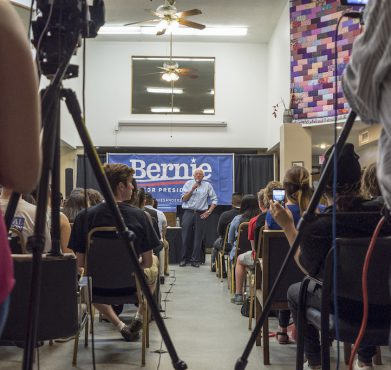 Bernie Sanders speaks at a campaign event in Des Moines, IA in September 2015. Phil Roeder / Flickr
