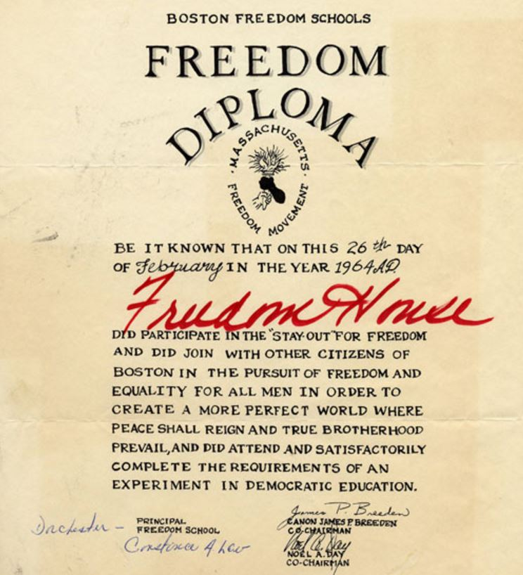 A diploma granted to Freedom House for its participation in the 1964 Boston Public Schools boycott. Northeastern University Library archives