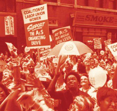 Workers from the Retail, Wholesale and Department Store Union support a 1979 organizing drive. (New York City Central Labor Council / Tamiment Library, Robert F. Wagner Labor Archives, New York University)