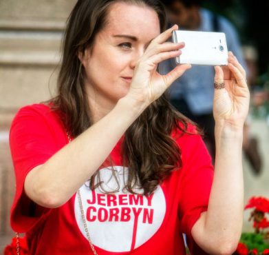 A Jeremy Corbyn supporter at a march for refugees in London on September 12, 2015. Garry Knight / Flickr