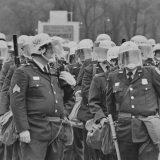 Police waiting to clear an antiwar encampment in Washington, DC in 1971. Washington Area Spark
