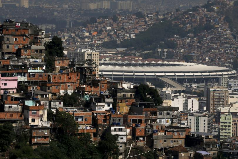 The Maracanã stadium in Rio de Janeiro rests between the Turano and Mangueira shantytowns. Sergio Moraes / Reuters