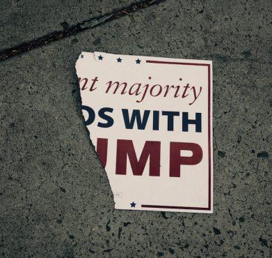 A ripped-up Donald Trump sign at a counter-protest in San Jose this summer. Steve Rhodes / Flickr