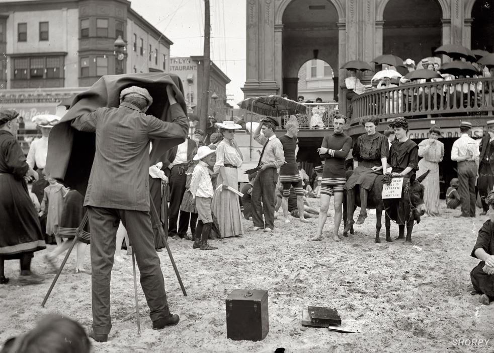 Beachgoers being photographed in Atlantic City, NJ circa 1912. Detroit Publishing Co.